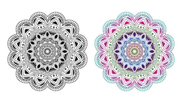Mandala. élément décoratif vintage. mandala aux couleurs de l'arc-en-ciel. mandala avec motif floral. modèles de yoga