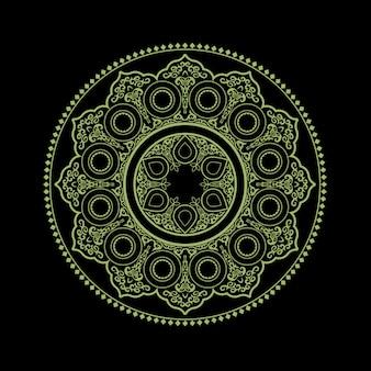 Mandala ethnique délicat sur fond noir - motif d'ornement rond
