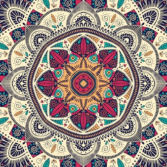 Mandala ethnique floral coloré ornemental