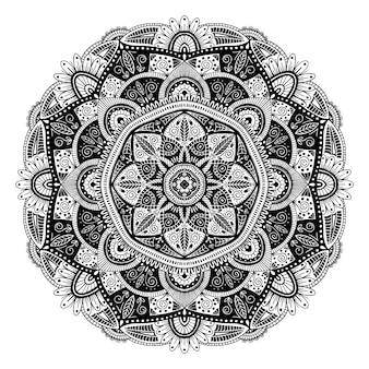 Mandala ethnique floral noir et blanc, sur fond blanc