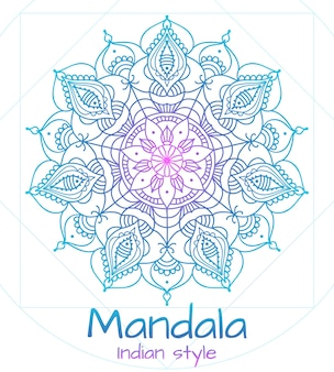 Mandala fine ligne style indien. bouddhisme et méditation, décoration florale