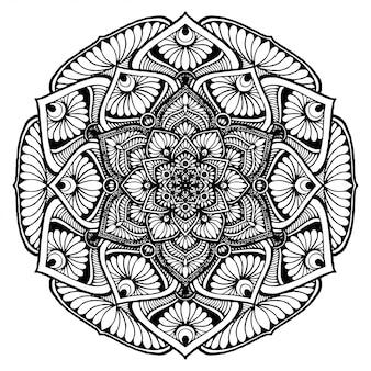 Mandala fleur rond pour tatouage, henné, livre de coloriage, décoratif.