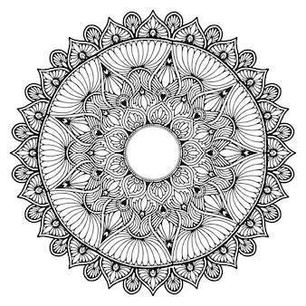 Mandala fleur ronde pour tatouage, henné. éléments décoratifs vintage. motifs orientaux. conception indienne, motif et cachet.
