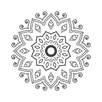 Mandala de fleurs dessinés à la main pour cahier de coloriage. motif henné ethnique noir et blanc. motif indien, asiatique, arabe, islamique, ottoman, marocain.
