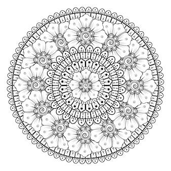 Mandala avec des fleurs de mehndi. ornement décoratif de style ethnique. coloriage.