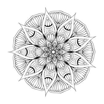 Mandala de fleurs rondes pour tatouage, henné. éléments décoratifs vintage. oriental