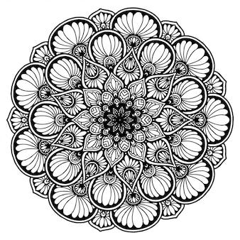 Mandala de fleurs rondes pour tatouage, henné. éléments décoratifs vintage.