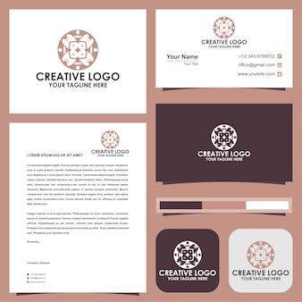 Mandala fleursleaftech mandala kaléidoscope logo premium et carte de visite