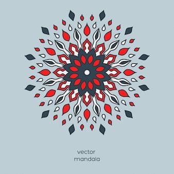 Mandala floral coloré dessiné à la main.