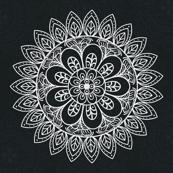 Mandala floral de couleur blanche sur fond sombre, mandala de luxe vintage, décoration ornementale