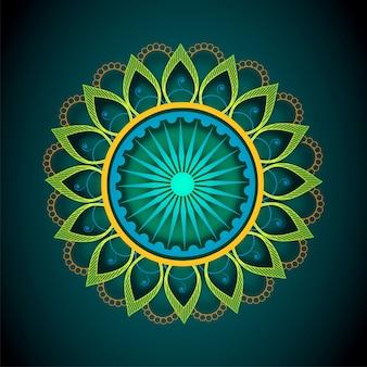 Mandala floral décoratif avec ashoka wheel pour la fête de l'indépendance indienne.