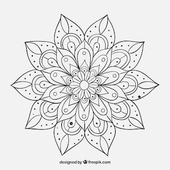 Mandala floral dessinée à la main