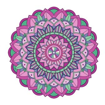 Mandala floral isolé sur blanc