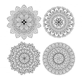 Mandala floral mis icônes sur fond blanc, luxe vintage, décoration ornementale