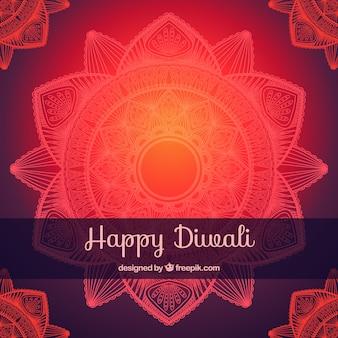 Mandala fond lumineux de diwali heureux