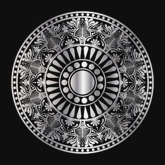 Mandala géométrique en argent de couleur dorée