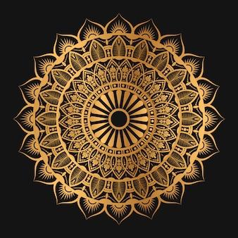 Mandala géométrique de couleur dorée