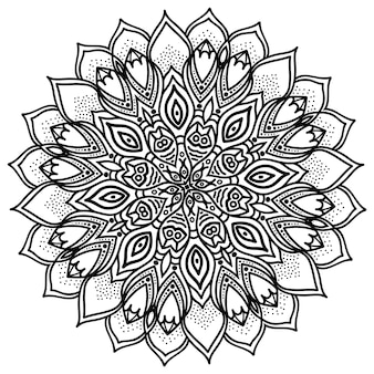 Mandala, illustration très détaillée, motif ethnique de tatouage tribal, isolé sur un blanc.