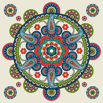Mandala indien dessiné à la main de paisley