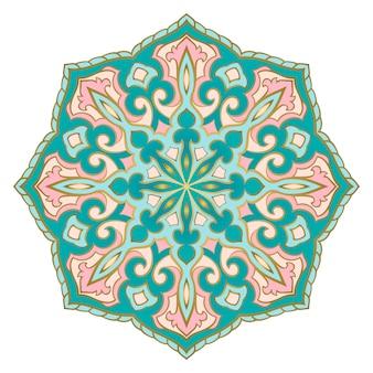 Mandala indien turquoise et rose.