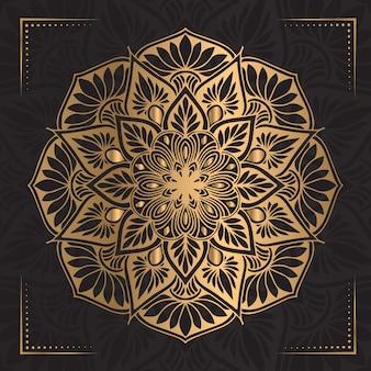 Mandala de luxe de couleur dorée