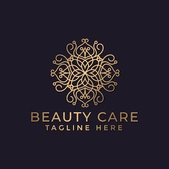 Mandala de luxe et modèle de conception de logo ornemental doré pour l'industrie du spa et du massage