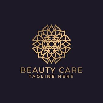 Mandala de luxe et modèle de conception de logo ornemental doré