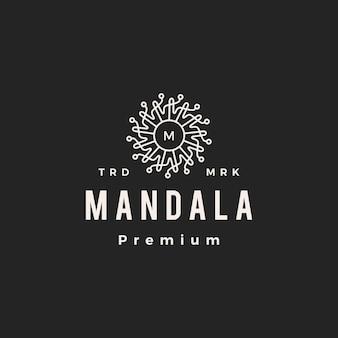 Mandala méduse m lettre marque hipster logo vintage icône illustration