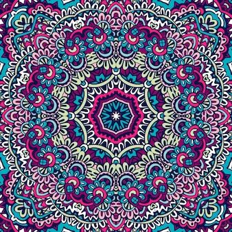 Mandala de modèle sans couture géométrique ethnique.