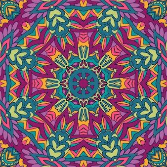 Mandala de modèle sans couture de vecteur art festival. imprimé géométrique ethnique.
