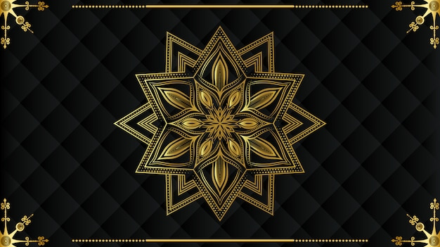 Mandala moderne de luxe avec motif arabesque doré style islamique royal arabe