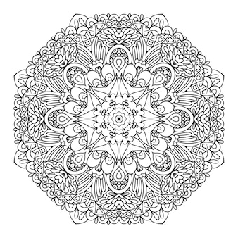 Mandala. motif monochrome circulaire. illustration vectorielle - eps 8