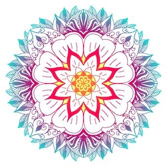 Mandala multicolore avec des motifs de fleurs et de plantes