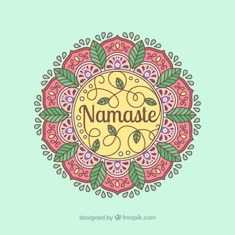 Mandala namaste fond en style linéaire