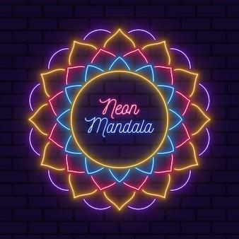 Mandala néon sur le papier peint de fond de mur