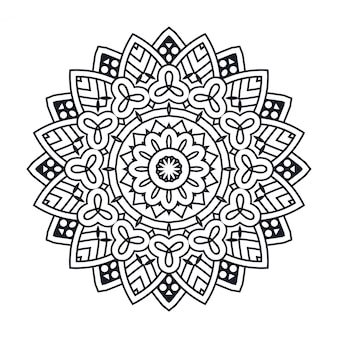 Mandala noir sur fond blanc pour cahier de coloriage