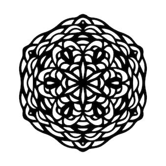 Mandala noir rond sur fond isolé blanc. boho de vecteur mandala avec des motifs floraux. concept de yoga, thérapie anti-stress