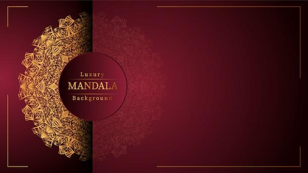 Mandala d'or avec fond rouge