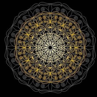 Mandala d'or mignon. fleur de griffonnage rond ornemental isolé sur fond blanc. ornement décoratif géométrique dans un style oriental ethnique.