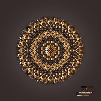Mandala oriental fleur d'or ornemental sur motif de couleur brune