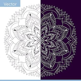 Mandala ornemental avec des éléments végétaux. fabriqué en couleur monochrome. blanc et violet foncé