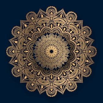 Mandala ornemental de luxe avec motif islamique doré