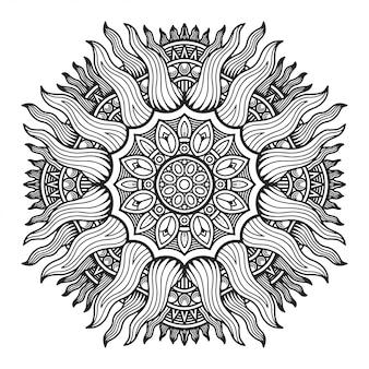 Mandala pour la conception de pages à colorier.