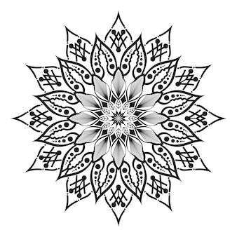 Mandala rond blanc et noir