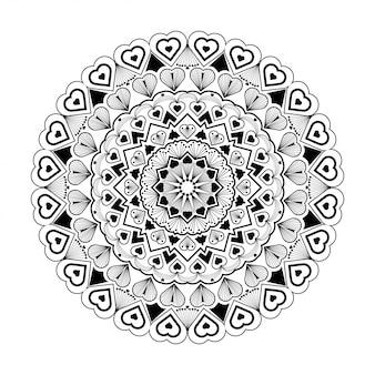 Mandala rond sur blanc et noir