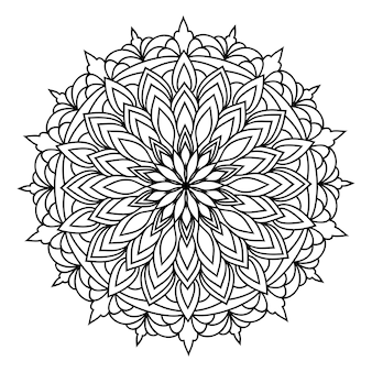 Mandala rond de dentelle ornementale orientale monochrome dessiné à la main