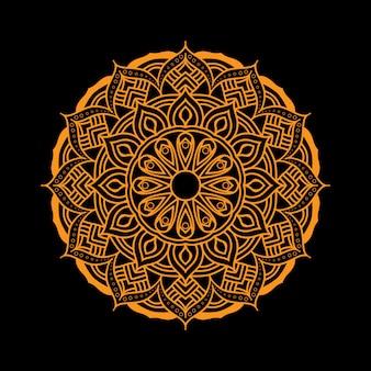 Mandala rond doré sur fond noir