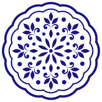 Mandala rond floral bleu et blanc