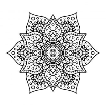 Mandala rond sur fond blanc