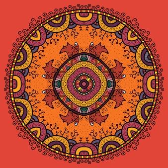 Mandala rond de vecteur dans un style enfantin.